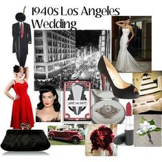 1940's themed wedding. Some help needed please. :  wedding Red Inspiration Board 1940s Theme