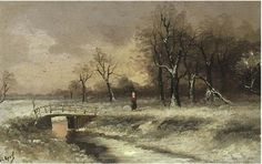 A figure walking beside a stream, in a snowy landscape; and The sun setting over a snowy landscape<br>signed 'L. Apol' (lower left)<br>oil on board<br>7 x 10 1/2 in. (17.8 x 26.7 cm.)<br>a pair (2)