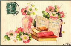 ~GR032 LIVRES BOOK ROSES Sauvages FANTAISIE Gaufrée RELIEF~