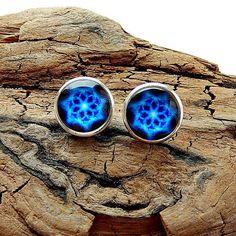 Blue Flower  Sacred  Geometry stud earrings Abstract