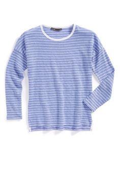 Vince Toddler Girl Drop Shoulder Striped Tee Blue Haze Size 4 $64 | eBay