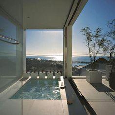Indoor outdoor spa overlooking the ocean...