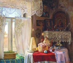 Best Easter paintings in Russian art Russian Folk, Russian Art, Russian Style, Russian Culture, Russian Beauty, Easter Paintings, Orthodox Easter, Prayer Corner, Arte Country
