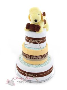 This nappy cake baby gift is a great alternative gift for a baby shower. The Spot the dog nappy cake is made in unisex colouring and newborn nappies, perfect for those not finding out the babys gender. Baby Shower Parties, Baby Shower Gifts, Dog Gifts, Baby Gifts, Spotted Dog, Nappy Cake, 1st Boy Birthday, Cute Puppies, Teddy Bear
