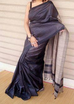 Charcoal Black handloom tussar silk saree with ghicha pallu Indian Silk Sarees, Indian Beauty Saree, Cotton Saree Blouse Designs, Formal Saree, Tussar Silk Saree, Silk Cotton Sarees, Pure Silk Sarees, Modern Saree, Sari Dress