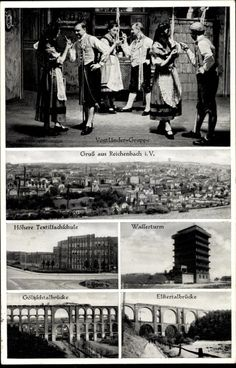 Ansichtskarte / Postkarte Reichenbach im Vogtland, Textilfachschule, Wasserturm, Elstertalbrücke #Vogtland