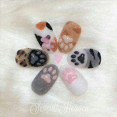 cat paw nails by 3d Nail Art, Animal Nail Art, Cute Nail Art, Art 3d, Summer Acrylic Nails, Cute Acrylic Nails, Pastel Nails, Cat Nail Designs, Nails Design