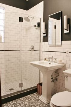 For more bathroom ideas and bathroom remodeling, please visit www.akbchicago.com Designed by Andersonville Kitchen & Bath, in Chicago. Bathroom decor, bathroom remodeling, chicago, design, showroom, planning, cabinets, vanity, small vanity, cabinetry, white cabinets, flat cabinets, slab cabinets, designer, bathroom makeover, bathroom update, countertops, cement tile, marble, shower, shower glass, backsplash, dream bathroom, modern design, transitional design, traditional design, home remodel