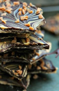 This easy to make Chocolate and Peanut Butter Bark is a real crowd pleaser. The chocolates are marbled together then topped with Skor Bits.