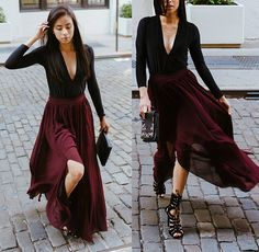 Get this look: http://lb.nu/look/8702845  More looks by Karla Quinones: http://lb.nu/kqns  Items in this look:  Missguided Deep Plunge Bodysuit, Nasty Gal Chiffon Maxi Skirt, Missguided Strappy Heels, Kate Spade Clutch   #chic #elegant #romantic