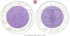 RITTER Österreich, 25 Euro 2005, Niob, 50 Jahre Fernsehen, st #coins #numismatics