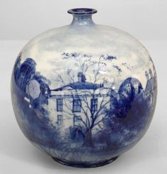 Saved from newel.com [CasaGiardino] ♛ English Victorian Royal Doulton Blue And White Porcelain Boulbous Shape Bud Vase with Scene Of Chiswick House 5w Tiina Sildre