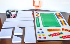 Here is an easy tutorial for creating your own football game day snack stadium perfect for Super Bowl or college parties. Plans and printables are included.