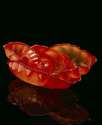 Pimento Red Seaform Set with Tar Lip Wraps by Dale Chihuly