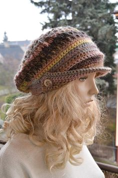 Brown Crocheted  PEAKED CAP beanie Slouchy Winter by DosiakStyle