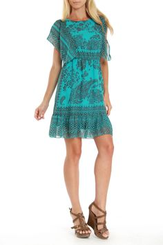 One World Sandy Dress In Teal & Black