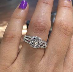 Triple shank halo engagement ring