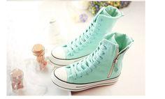 (พรีออเดอร์) รองเท้าผ้าใบ หุ้มข้อสูง สีเขียวมินท์ ซิปด้านข้าง Size 35-39 - เสื้อผ้า กระเป๋า รองเท้าแฟชั่น นำเข้า คุณภาพดี พร้อมส่ง - พรีออเดอร์ : Inspired by LnwShop.com