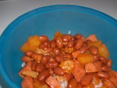 Again, another recipe from my boyfriend.  The Goya brand products in this recipe can usually be found in the international section or Mexican section of your grocery store.  Although I use Pink Beans for this recipe, please feel free to substitute Goya Kidney Beans or Pinto Beans.
