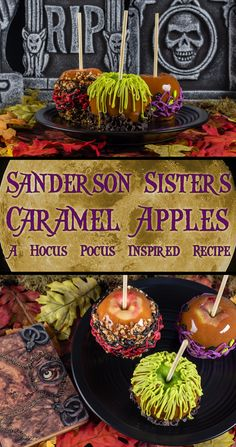 Sanderson Sisters Caramel Apples: A Hocus Pocus Inspired Recipe - - The Geeks are celebrating Halloween early with their recipe for Sanderson Sisters' Caramel Apples inspired by the Disney film Hocus Pocus! Halloween Tags, Halloween Desserts, Postres Halloween, Theme Halloween, Halloween Food For Party, Halloween Birthday, Baby Halloween, Halloween Apples, Halloween Caramel Apples Recipe