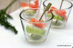 Fingerfood: Lachs-Gurken-Spießchen mit Frischkäse