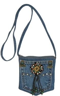 Blue Denim Small Mini Pouch Crossbody Bag with Beads, Studs and Suede Fringe Blue Jean Purses, Shabby Chic Stil, Fringe Crossbody Bag, Denim Crafts, Jean Crafts, Denim Handbags, Denim Purse, Denim Ideas, Boho Bags