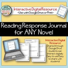 Reading Response Journal for ANY Novel - Interactive Digital Resource!  Perfect for a 1:1 classroom!  ($)