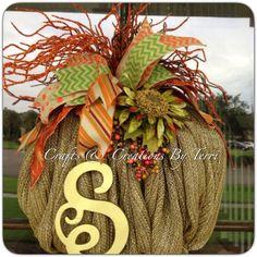 FALL Wreath   Pumpkin Wreath  Burlap Pumpkin by CreatedByTerri