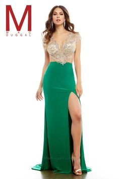In such striking colors of emerald /nude and royal / nude it's no wonder that this long prom dress is a royal gem. A plunging sweetheart neckline features an intricate design of silver embellishments. AB stones and silver sequins sparkle along the front and then trim the open back. The complex detailing of stones resembles both a sophisticated and classic design fit for royalty. A sheer illusion bodice leads into a stretch jersey skirt and high leg slit on the side.   - USA