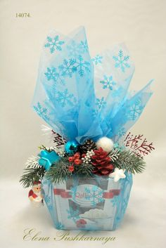 Wrapping Gift Baskets, Baby Gift Wrapping, Creative Gift Baskets, Candy Gift Baskets, Gift Wraping, Christmas Gift Baskets, Christmas Decorations, Creative Christmas Gifts, Christmas Projects