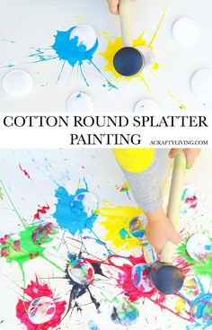 Cotton Round Splatter Painting - Irresistible Process Art! Gloucestershire Resource Centre http://www.grcltd.org/home-resource-centre/