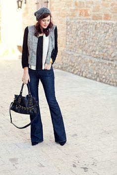 hat - target, top - madewell, jeans - anthropologie, nine west boots, melie bianco bag