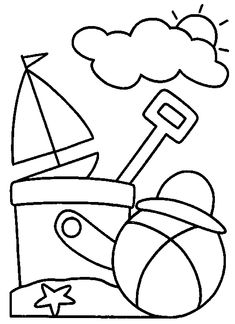Summer Coloring Pages, Coloring Pages To Print, Colouring Pages, Coloring Sheets, Coloring Books, Art Drawings For Kids, Drawing For Kids, Easy Drawings, Art For Kids