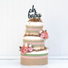 Floral Baby Shower Diaper Cake, Baby Girl Diaper Cake Oh Baby, Peony Baby Shower, Burlap Shabby Chic Decoration Unique Baby Girl Gifts, Baby Gifts, Diaper Cake Boy, Diaper Cakes, Baby Bouquet, Cake Trends, Baby Shower Diapers, Floral Baby Shower, Baby Shower Centerpieces