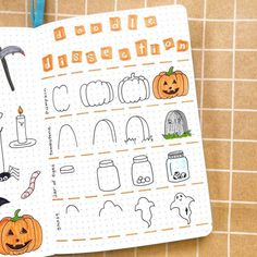 Got tons of Halloween Bullet Journal ideas - doodle tutorials, headers, Bullet Journal spreads. All the inspiration you need to create your own amazingly spooky Halloween Bullet Journal layouts, including - cover page, monthly log, weekly spreads. habit trackers and more. #mashaplans #bulletjournal #halloween #bujoideas Bullet Journal Cover Page, Bullet Journal Mood, Bullet Journal Layout, Bullet Journal Inspiration, Bullet Journal Spread, Bullet Journals, Bullet Journal Contents, Halloween Doodle, Halloween Drawings