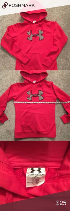 Under Armour Hoodie Excellent condition, only worn once. Hot pink and gray colors, draw string adjustable hood and front pocket. Under Armour Tops Sweatshirts & Hoodies