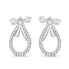 0.21 Carat Genuine White Diamond 14K White Gold Earrings (G-H Color, SI1-SI2 Clarity)