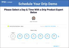 LesdPages Drip landing page example - Calendly widget used to insert an interactive demo-scheduling calendar into a thank you page