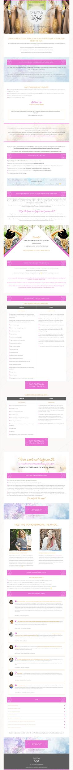 sales page inspiration - Syntax and Style by Coral Antler Creative Page Design, Web Design, Graphic Design, Design Elements, Coral, Coding, Branding, Blog, Bright Pink