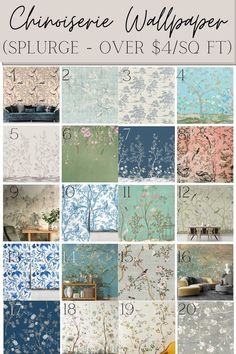A round-up of 40 chinoiserie style wallpaper prints and murals from designers and their budget-friendly dupes for classic wall decor.