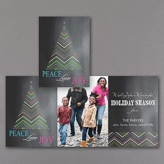 Send traditional wishes in the most modern way! Colorful chevrons create a stylish Christmas tree on the chalkboard holiday card to make your photos festive.