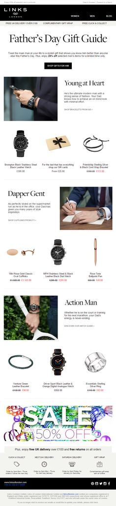 Links of London Father's Day Gift Guide Email #EmailMarketing #Email #Marketing #FathersDay #Fathers #Day #Accessories #Fashion #Gifts #Product #Recommendations