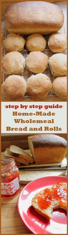 Home baking Wholemeal Bread and Rolls. Make your own home baked bread and rolls by hand or by using a stand mixer. Easy to follow step by step picture guide