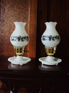 Vintage Currier and Ives lamps White by primitivepincushion, $63.99