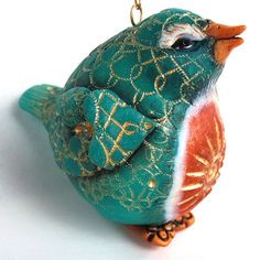 polymer clay bird (created in workshop using Marie Young's covered egg technique)... Create My World Designs