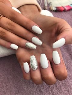 White coffin shaped acrylic nails with silver glitter accent nail - White Acrylic Nails - Prom Nails, Fun Nails, Pretty Nails, Wedding Nails, Acrylic Nail Designs, Nail Art Designs, Nails Design, Glitter Accent Nails, Silver Glitter