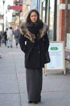 how to wear a maxi with a winter coat