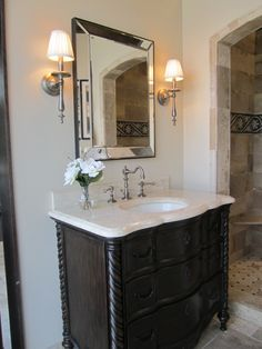 bathrooms - tile from the Tile Shop, limestone countertop, limestone bathroom countertop,  Kirsty Froelich - Ambella vanity, Driftwood limes...