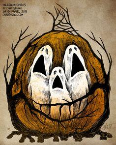 Halloween Spirits by Chad Savage by SavageSinister Halloween Artwork, Halloween Rocks, Halloween Painting, Halloween Drawings, Halloween Prints, Creepy Halloween, Halloween Pictures, Halloween Horror, Spirit Halloween