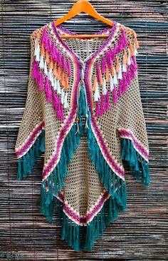 Saco Poncho Crochet, Beau Crochet, Bonnet Crochet, Pull Crochet, Mode Crochet, Crochet Shawls And Wraps, Crochet Jacket, Crochet Scarves, Crochet Clothes